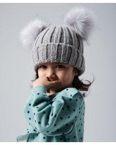 Infant/junior faux fur double pom pom beanie