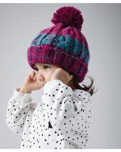 Infant/junior corkscrew pom pom beanie